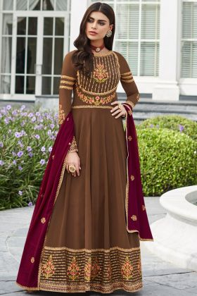 Georgette Designer Anarkali Salwar Kameez Embroidery Work In Brown Color