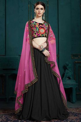 Georgette Designer Lehenga Choli Black Color