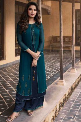 Georgette Designer Palazzo Kurti Set Teal blue and Navy Blue Color With Stone Work