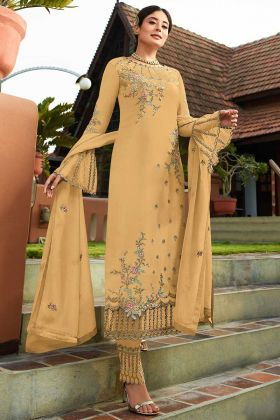 Georgette Designer Pant Style Dress Resham Embroidery Work In Yellow Color