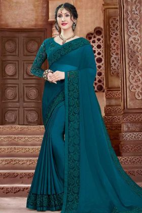 Georgette Designer Saree Coding Embroidery Work In Teal Blue Color