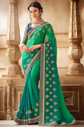 Georgette Designer Saree Embroidery Work In Green Color