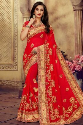 Georgette Designer Saree Red Color With Stone Work