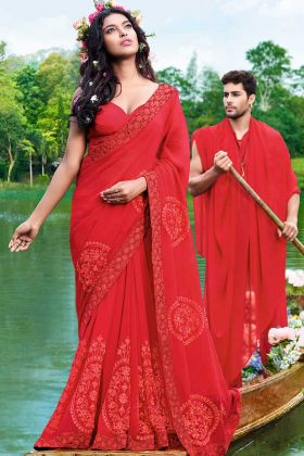Georgette Designer Saree Red Color With Thread Embroidery Work
