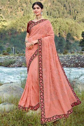 Georgette Designer Saree Zari Embroidery Work In Peach Color