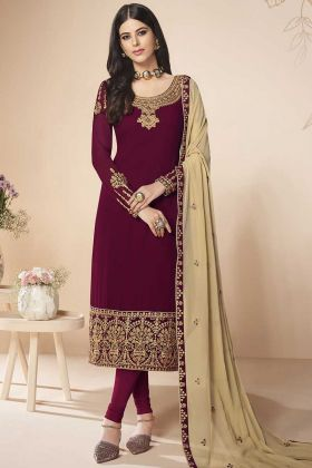 Georgette Designer Straight Suit In Maroon Color