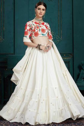 Georgette Festival Lehenga With Resham Work White Color