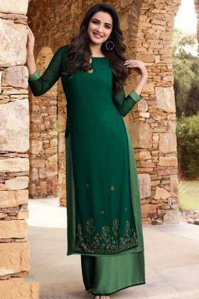 Georgette Festival Palaazo Kurti Set Stone Work In Dark Green and Green Color