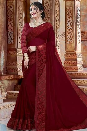 Georgette Festival Saree Maroon Color With Thread Embroidery Work