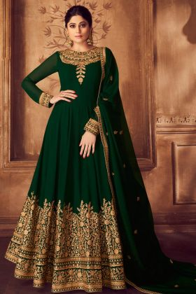 Georgette Green Anarkali Salwar Suit