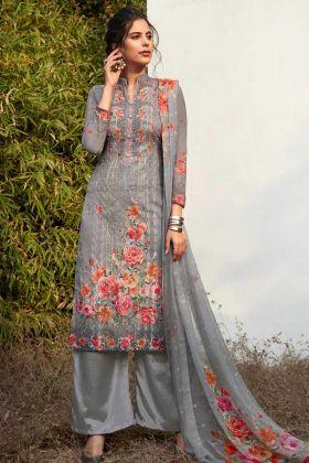 Georgette Grey Printed Salwar Kameez