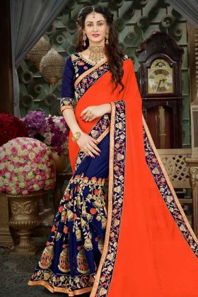 Georgette Half and Half Festival Saree Thread Embroidery Work Orange and Navy Blue Color