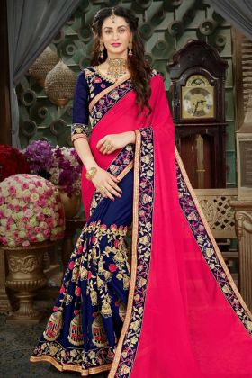 Georgette Half and Half Wedding Saree Dark Pink and Navy Blue Color With Jari Embroidery Work