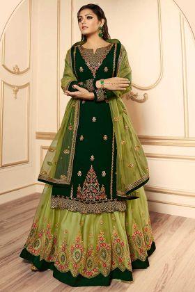 Georgette Indo Western Salwar Kameez Dark Green Color With Net Dupatta