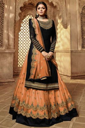 Georgette Indo Western Salwar Kameez In Black Color