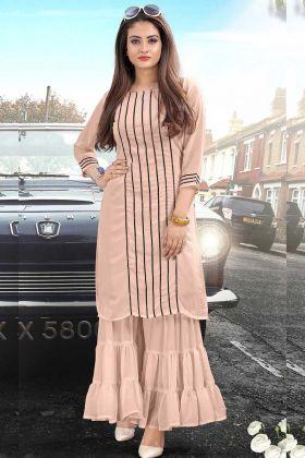 Georgette Light Peach Pakistani Suits
