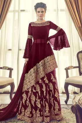 Georgette Maroon Indo Western Salwar Suit