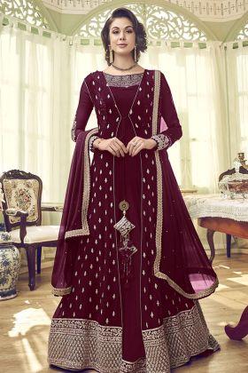 Georgette Maroon Jacket Style Salwar Suit