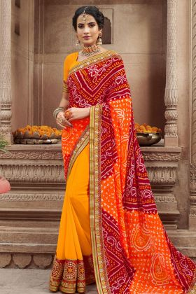 Georgette Multi Color Bandhani saree
