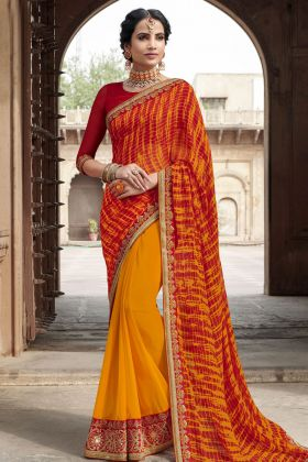 Georgette Multi Color Bandhej Saree
