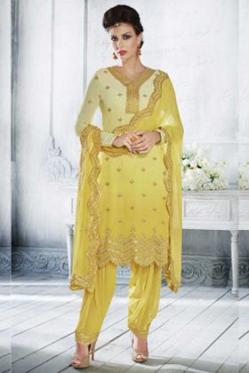 Georgette Nakakashi Patiala Salwar Kameez In Yellow Color