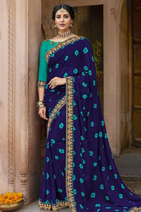 Georgette Navy Blue Bandhej Saree