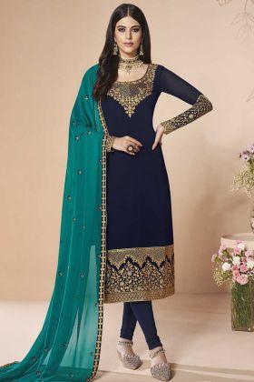 Georgette Navy Blue Color Salwar Kameez With Zari Work