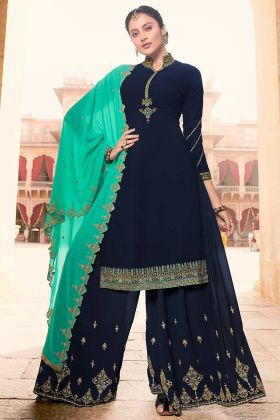 Georgette Navy Blue Palazzo Salwar Kameez With Sea Green Dupatta