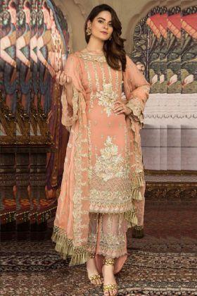 Georgette Orange Color Designer Pakistani Suit With Nazneen Dupatta