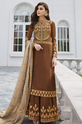 Georgette Pakistani Dress Brown Color With Embroidery Work
