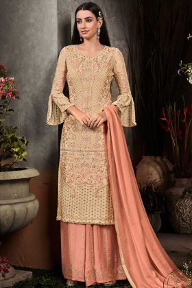 Georgette Pakistani Dress Embroidery Work In Beige Color
