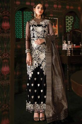 Georgette Pakistani Dress Embroidery Work In Black Color