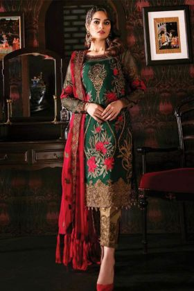 Georgette Pakistani Dress Embroidery Work In Green Color