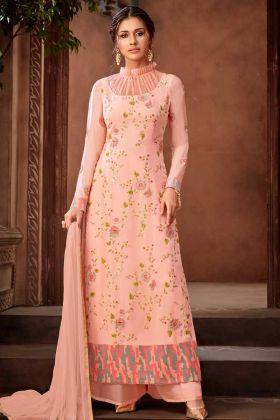 Georgette Pakistani Dress Peach Color Resham Embroidery Work