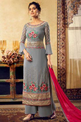 Georgette Palazzo Dress Zari Embroidery Grey Color With Chiffon Dupatta
