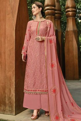 Georgette Palazzo Salwar Kameez Embroidered Work Peach Color