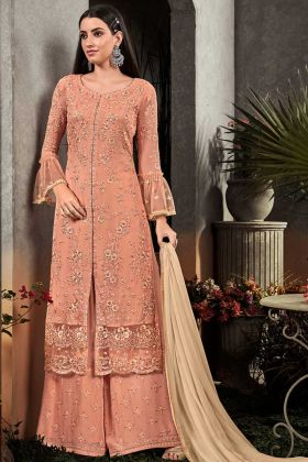 Georgette Palazzo Salwar Kameez Embroidery Work In Peach Color