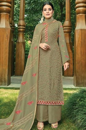 Georgette Palazzo Salwar Suit Olive Green Color In Embroidered Work