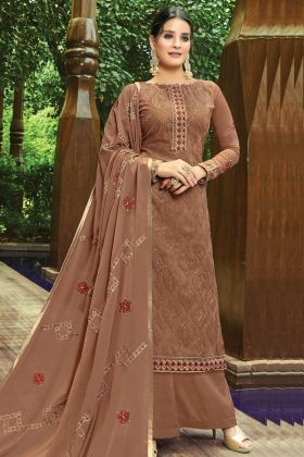 Georgette Palazzo Style Salwar Suit In Brown Colour