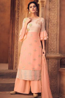 Georgette Palazzo Suit Dark Peach Color With Stone Work