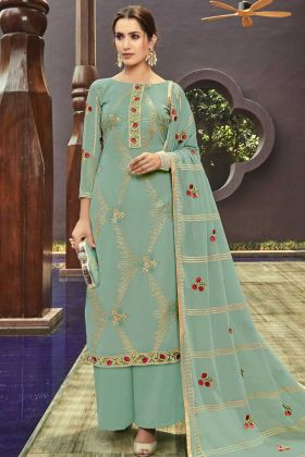 Georgette Palazzo Suits Light Green Semi Stitched