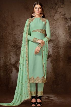 Georgette Pant Style Dress Aqua Green Color With Embroidery Work