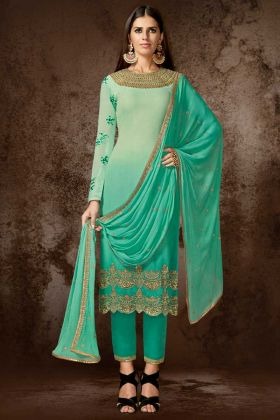 Georgette Pant Style Dress In Green Color