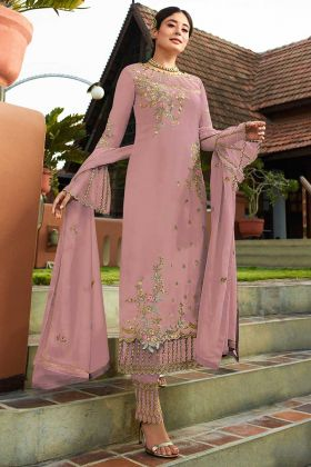 Georgette Pant Style Dress Stone Work In Pink Color