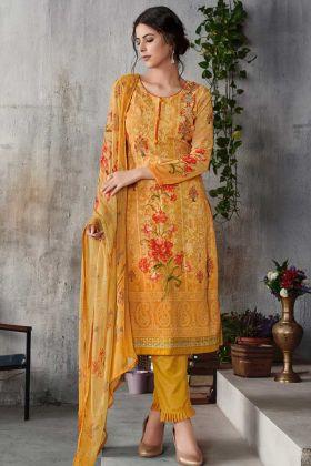 Georgette Pant Style Salwar Kameez Mustard Yellow