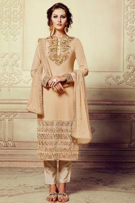 Georgette Pant Style Salwar Suit In Beige Color