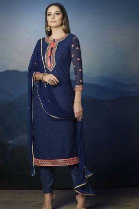 Georgette Pant Style Salwar Suit In Navy Blue Color