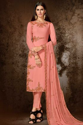 Georgette Pant Style Salwar Suit In Pink Color