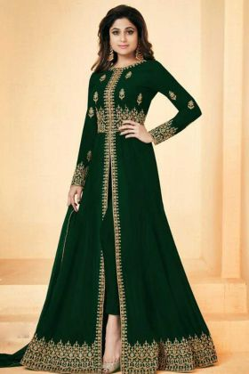 Georgette Party Designer Suit In Green Color Shamita Shetty