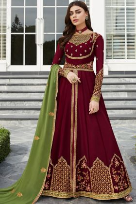 Georgette Party Wear Anarkali Salwar Kameez Maroon Color With Embroidery Work
